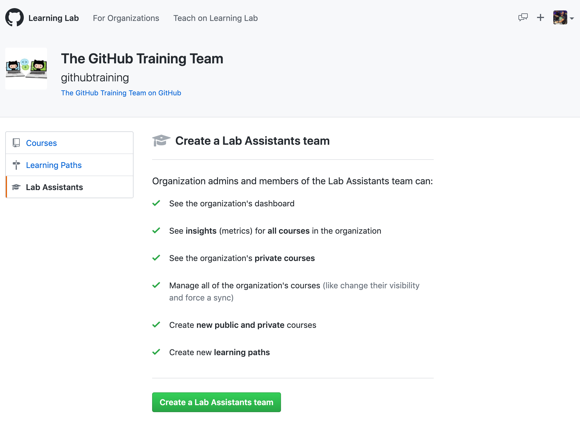 screenshot of the lab assistants page on Learning Lab
